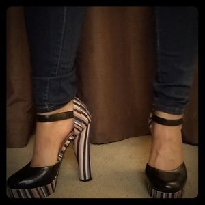 Black and Multi Stacked Heels